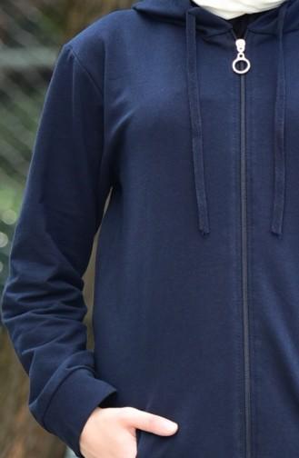 بدلة رياضية بتصميم سحاب 30110C-02 لون كحلي 30110C-02