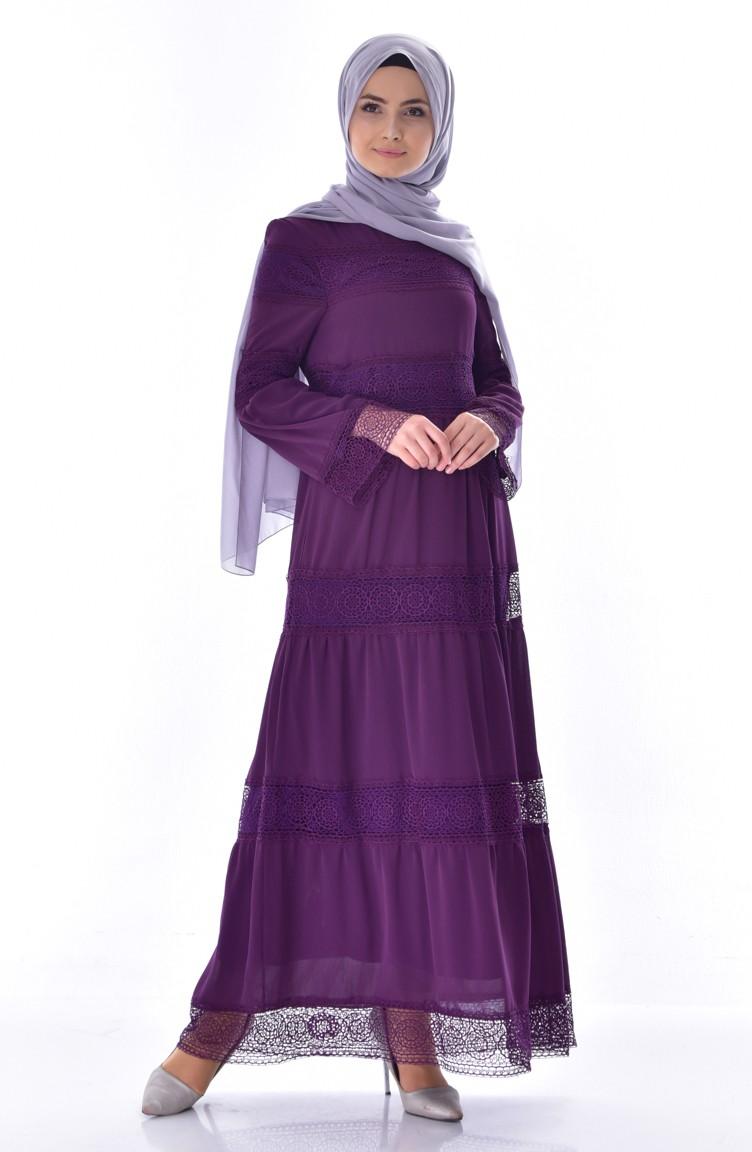d47e26e4d0 Lace Detail Dress 3000-03 Purple 3000-03