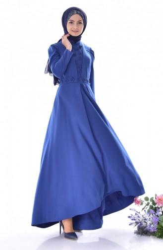 İncili Kuşaklı Elbise 0905-01 İndigo 0905-01