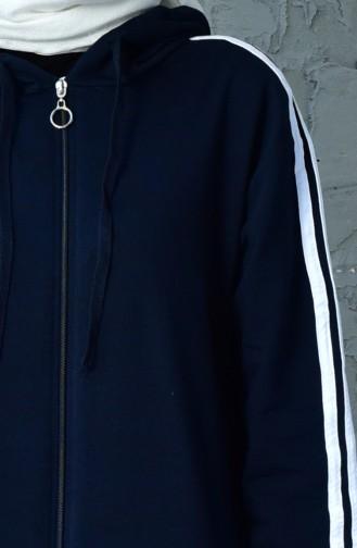 بدلة رياضية بتصميم سحاب 30125B-02 لون كحلي 30125B-02