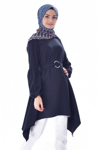 Belted Asymmetric Tunic 1769-01 Navy Blue 1769-01