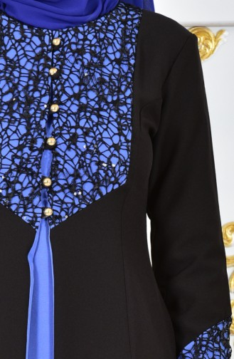Robe de Soirée a Paillettes 4468-09 Bleu 4468-09