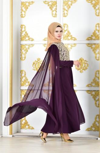 Robe de Soirée a Dentelle 81606-03 Pourpre 81606-03