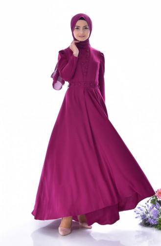 فستان بحزام خصر مُزين باللؤلؤ 0905-02 لون أرجواني داكن 0905-02