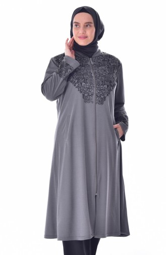 Large Size Flock Printed Cape 6039-07 Gray 6039-07