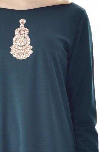 فستان مُزين بأحجار لامعة  99159-04 لون اخضر كاكي 99159-04