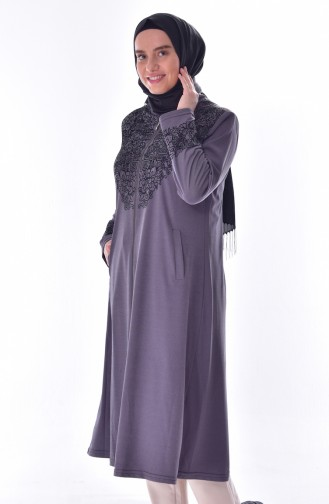 Large Size Flock Printed Cape 6039-02 Dark Lilac 6039-02