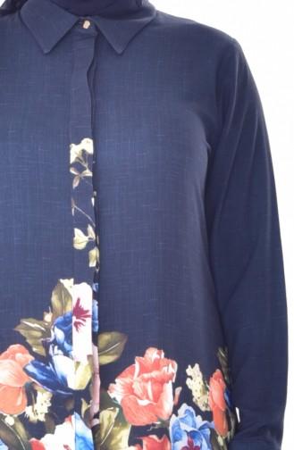 Large Size Digital Printed Tunic 7015-04 Navy 7015-04
