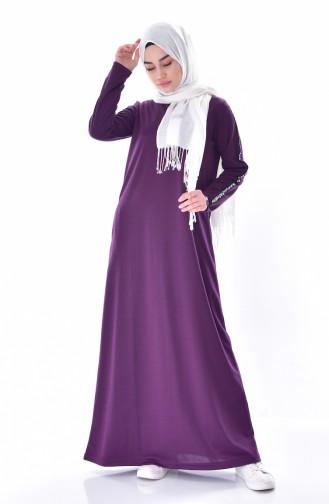 فستان بتصميم مخطط على اكمام 99144-05 لون بنفسجي 99144-05