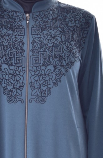 Large Size Flock Printed Cape 6039-05 Petrol 6039-05