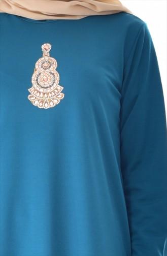 Taşlı Elbise 99159-01 Petrol