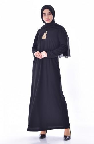 فستان مُزين بأحجار لامعة  99159-03 لون اسود 99159-03