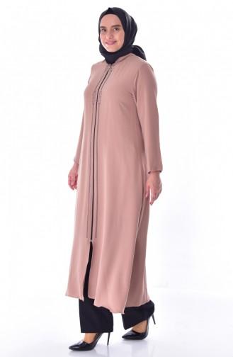 Übergröße Abaya mit Reißverschluss 1034-02 Creme 1034-02