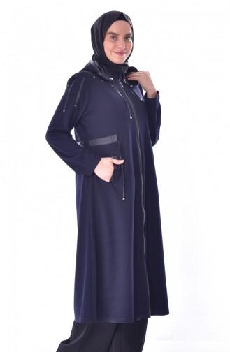 Large Size Leather Garnished Cape 6050-01 Navy Blue 6050-01