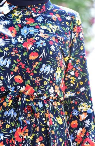 Blumen Gemusterte Lange Tunika 3944-02 Dunkelblau 3944-02