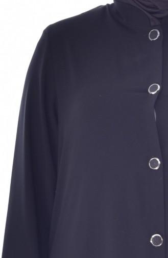 Abaya Col Officier Grande Taille 12055-04 Noir 12055-04