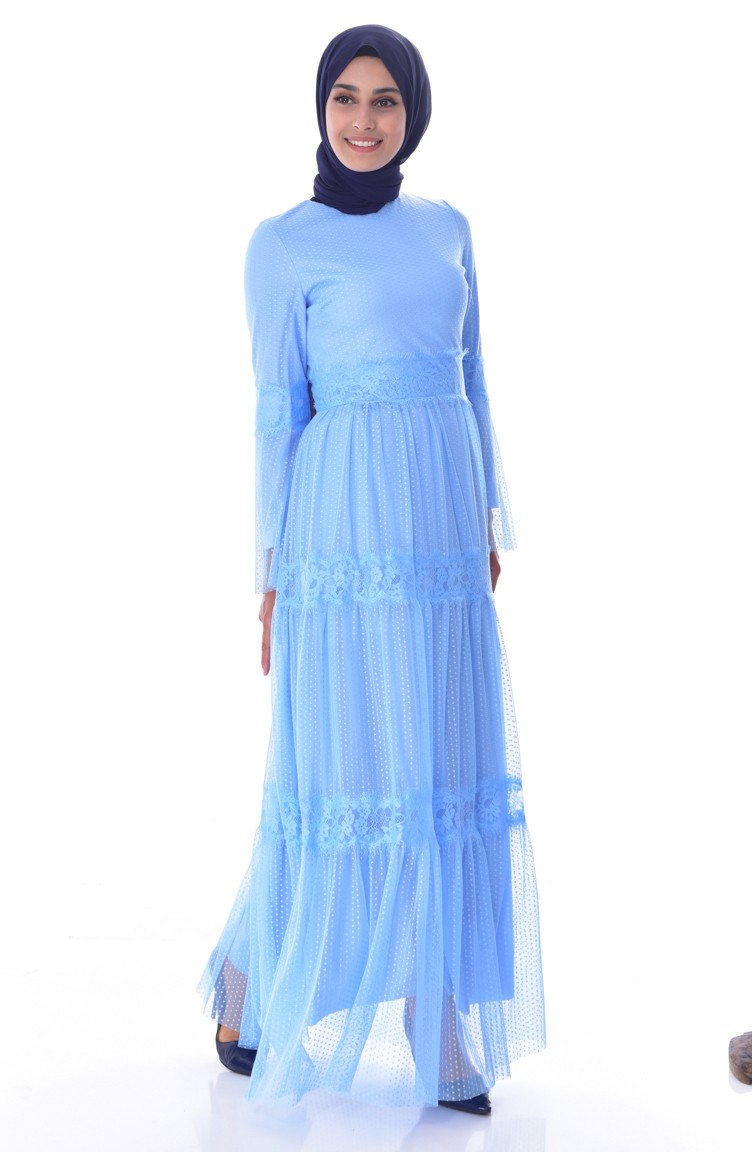 5157e10c8e4f5 فستان بتفاصيل من الدانتيل 1057A-02 لون ازرق فاتح 1057A-02