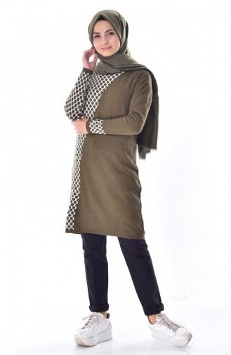 VMODA Knitwear Patterned Tunic 8008-02 Khaki 8008-02