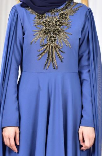 Cape Evening Dress 81612-01 İndigo 81612-01