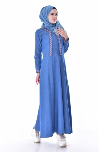 Nakışlı Kot Jile Ceket İkili Takım 9243-01 Kot Mavi 9243-01