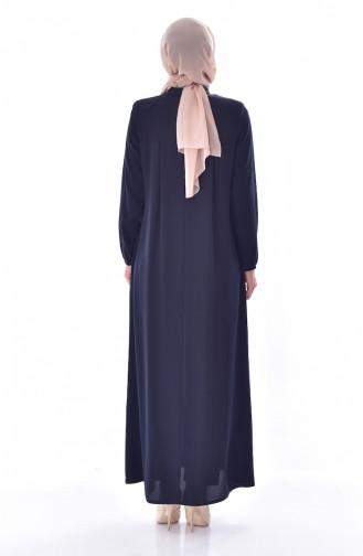 Judge Collar Zippered Abaya 2526-01 Navy Blue 2526-01