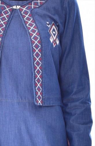 Nakışlı Kot Jile Ceket İkili Takım 9243-02 Lacivert 9243-02