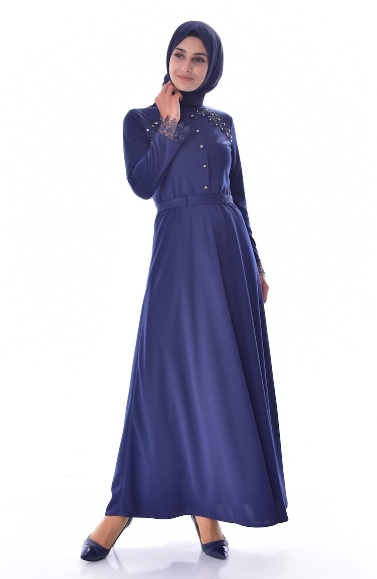 4565f13fa37 Navy Blue Dress 1187-07 ...