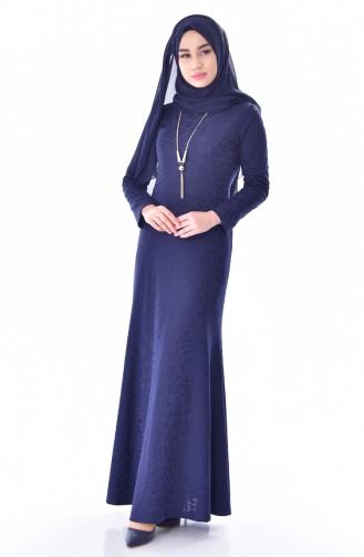 Robe avec Collier 2030-01 Bleu Marine 2030-01