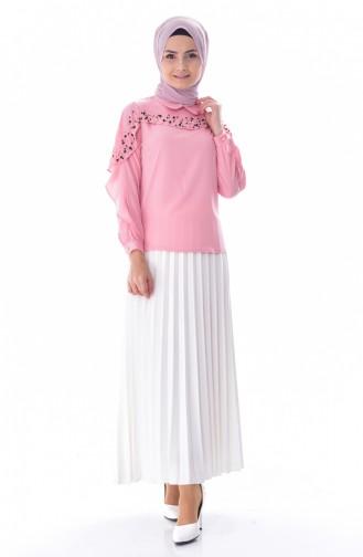 Bluse mit Perlen 7004-01 Pink 7004-01