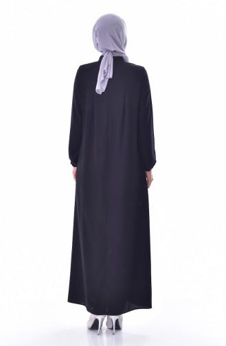 عباءة بتصميم سحاب وياقة مثنية 2526-03 لون اسود 2526-03