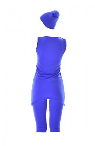 Maillot de Bain Sans Manches 0108-02 Bleu Roi Vert 0108-02