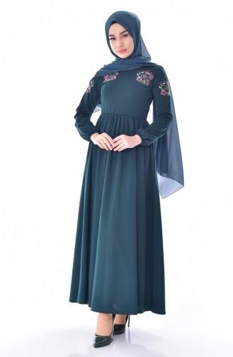 Emerald Green Hijab Dress 4112-05