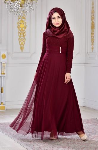 Robe de Soirée a Paillettes 2587-02 Bordeaux 2587-02