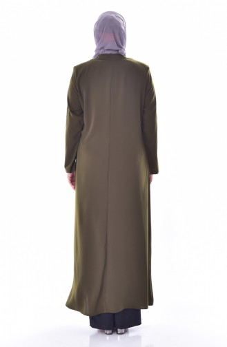 Large Size Stone Printed Zippered Abaya 3007-03 Khaki 3007-03