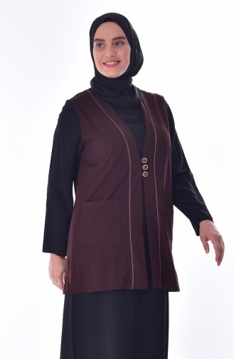 Gilet a Boutons Grande Taille 4730-01 Brun 4730-01