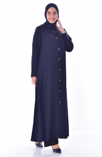 Large Size Judge Collar Abaya 12055-03 Navy Blue 12055-03