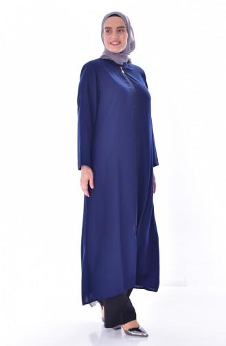 Abaya a Fermeture İmprimée de Pierre Grande Taille 1034-01 Bleu Marine 1034-01