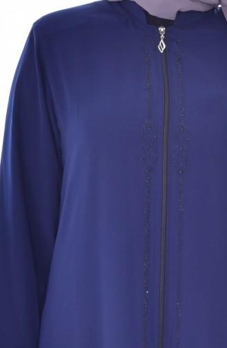 Übergröße Abaya mit Reißverschluss 1034-01 Dunkelblau 1034-01