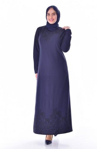 Übergröße Strassstein Bedruckte Kleid 4888B-01 Dunkelblau 4888B-01