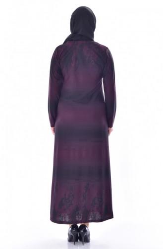 Übergröße Strassstein Bedruckte Kleid 4888-04 Zwetschge 4888-04