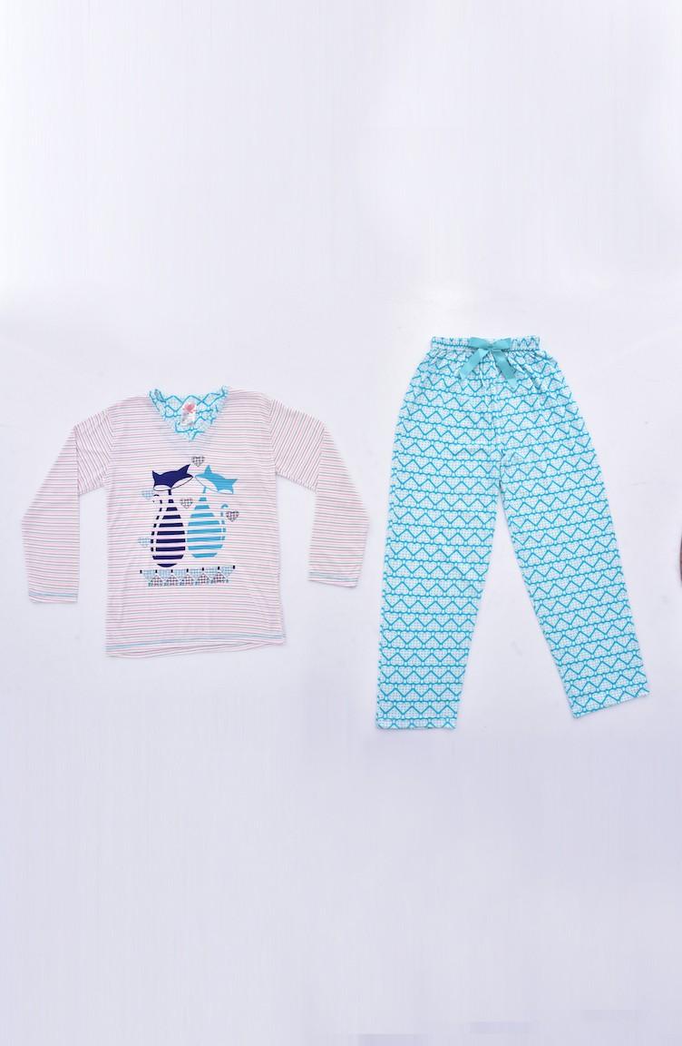 46a341810fc1a Ensemble Pyjama Imprimé ZY0105-01 Vert 0105-01
