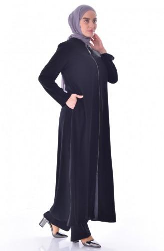 Abaya a Fermeture Col Officier Grande Taille 12054-03 Noir 12054-03