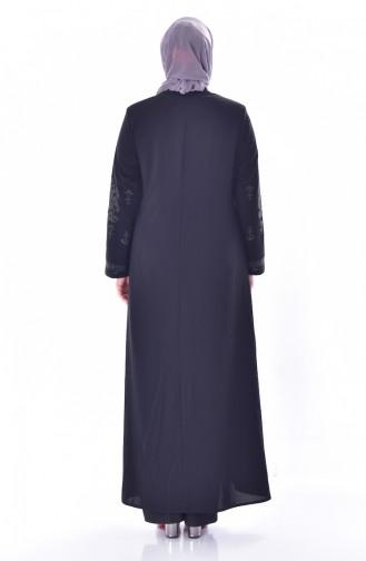 Abaya a Fermeture Imprimée de Pierre Grande Taille 3021-03 Noir 3021-03