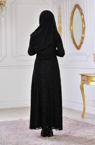 فستان سهرة بتفاصيل لامعة 2176-01 لون اسود 2176-01