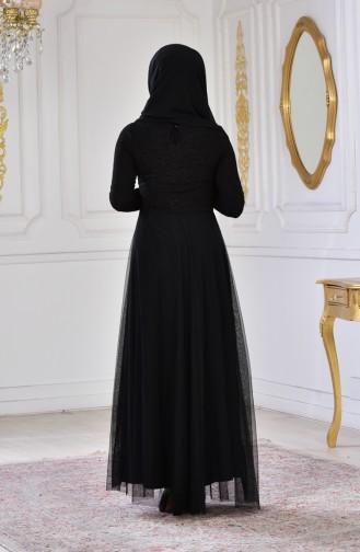 Simli Abiye Elbise 2587-01 Siyah 2587-01