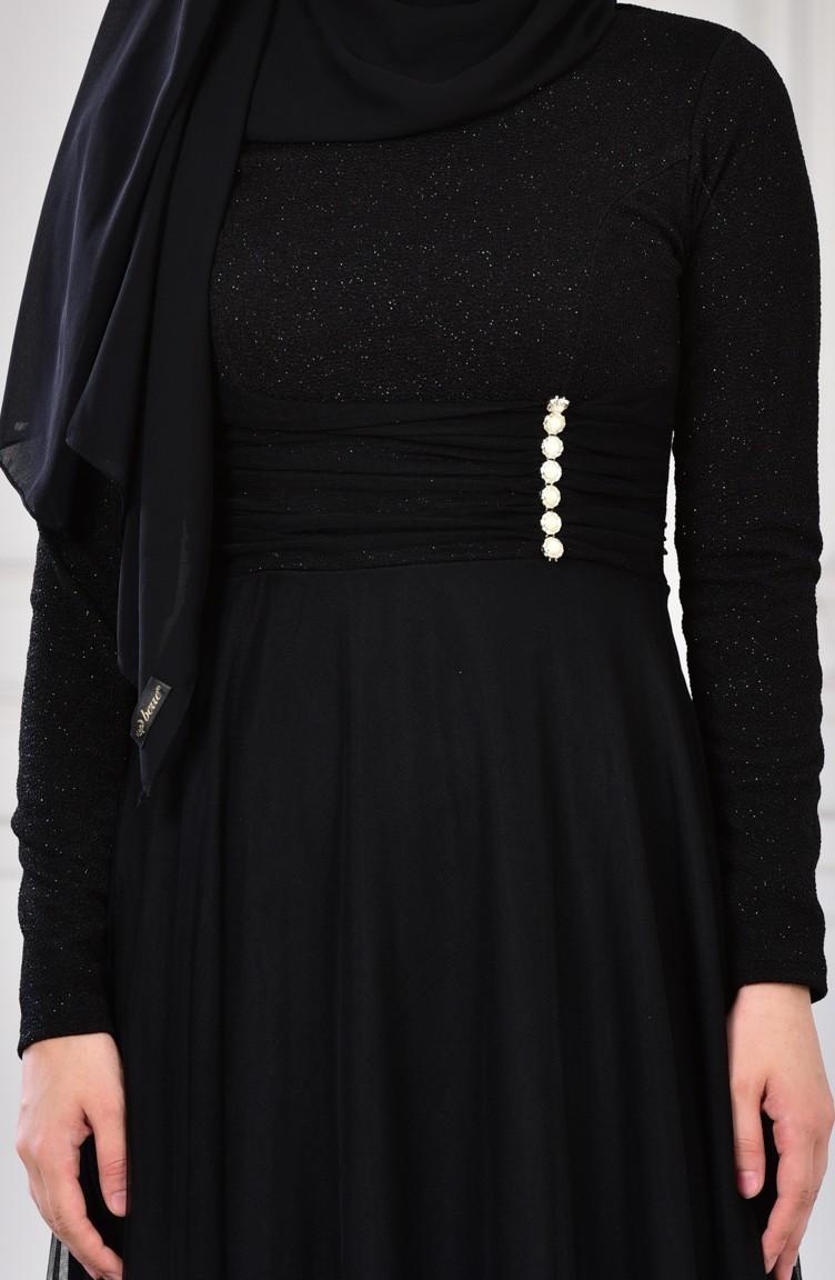 cab41f6988712 فستان سهرة بتفاصيل لامعة 2587-01 لون اسود 2587-01