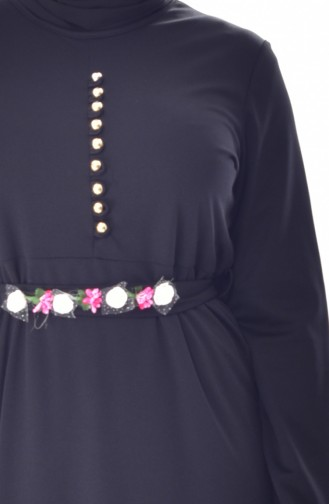 Büyük Beden Çiçekli Elbise 0532-08 Siyah