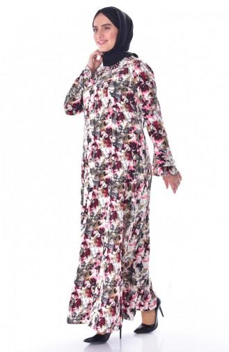 فستان بتصميم مُطبع بمقاسات كبيرة 1034-01 لون اسود 1034-01