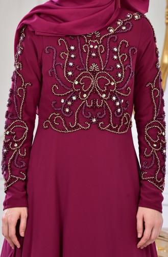 Robe de Soirée Bordée de Perles 0121-05 Cerise 0121-05