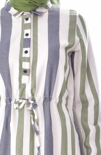 YNS Striped Linen Dress 3914B-02 Green 3914B-02